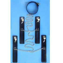 手足颈连铐 金属链连接 大小可调