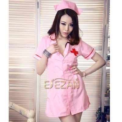 清新乖巧粉色深V美背诱惑护士裙 棉线材质柔软舒适甜美可爱的护士小姐